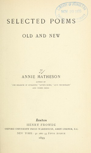 Selected poems, old and new by Annie Matheson