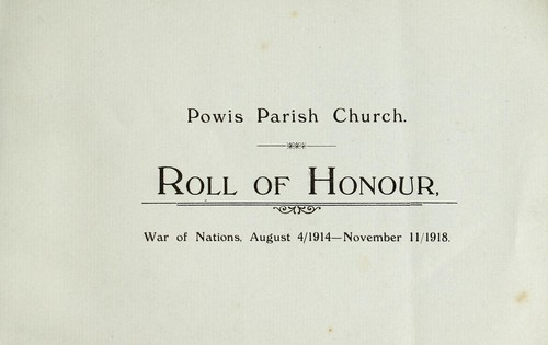 Roll of honour, 1914-1918 by Powis Parish Church (Aberdeen, Scotland)