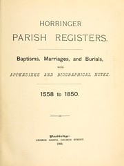Cover of: Horringer parish registers. | Horringer, Eng. (Parish)