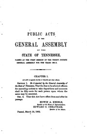 Cover of: Public Acts of the State of Tennessee Passed at the General Assembly | Tennessee