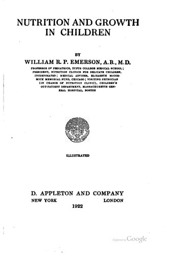 Nutrition and growth in children by William Robie Patten Emerson