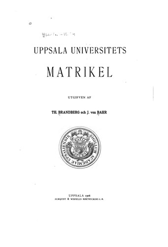 Upsala universitets matrikel by Uppsala universitet