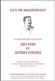 Cover of: Oeuvres poétiques completes: vers et autres poemes