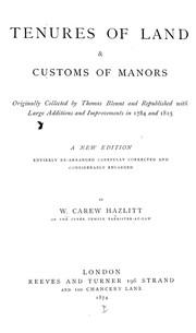 Tenures of land & customs of manors