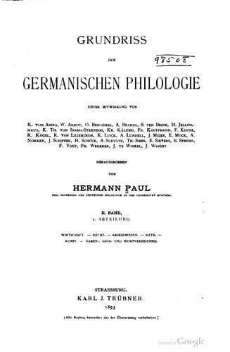 Grundriss der germanischen Philologie by Hermann Paul