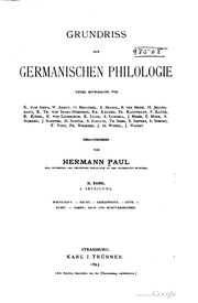 Cover of: Grundriss der germanischen Philologie | Hermann Paul