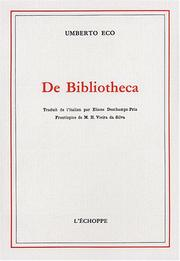 Cover of: De bibliotheca