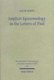 Cover of: Implicit Epistemology in the Letters of Paul