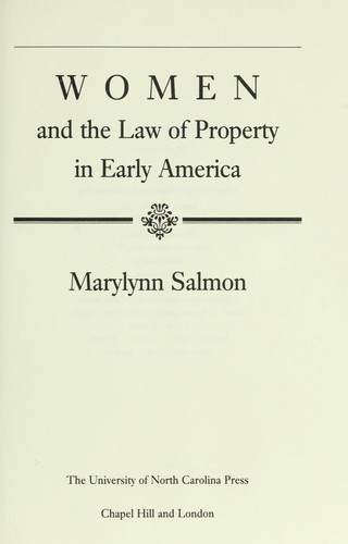 Image 0 of Women and the Law of Property in Early America (Studies in Legal History)