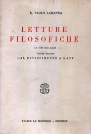 Letture Filosofiche – Dal Rinascimento a Kant