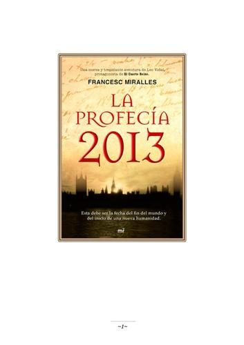 Libro de segunda mano: La profecía 2013