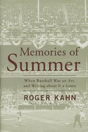 Cover of: Memories of summer: When Baseball Was an Art and Writing About it a Game