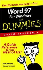 Cover of: Word 97 for Windows for dummies: quick reference
