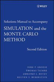 Cover of: Student Solutions Manual to Accompany Simulation and the Monte Carlo Method (Wiley Series in Probability and Statistics)
