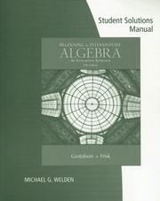 Cover of: Student Solutions Manual for Gustafson/Frisk's Beginning and Intermediate Algebra