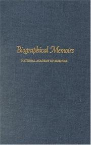 Cover of: Biographical Memoirs: V.75 (<i>Biographical Memoirs:</i> A Series)
