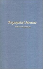 Cover of: Biographical Memoirs: V.83 (<i>Biographical Memoirs:</i> A Series)