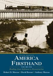 Cover of: America Firsthand: Volume One