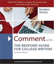 Cover of: Comment for The Bedford Guide for College Writers