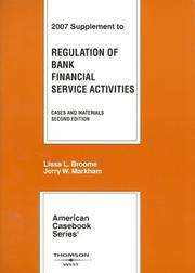 Cover of: Regulation of Bank Financial Services Activities