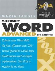 Cover of: Word 2001/X Advanced for Macintosh: Visual QuickPro Guide
