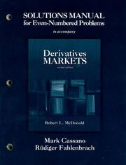 Cover of: Solutions Manual for Even-Numbered Problems to Accompany Derivatives Markets