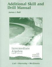 Cover of: Additional Skill and Drill Manual for Intermediate Algebra