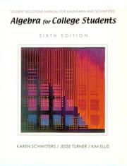 Cover of: Student Solutions Manual for Kaufmann's Intermediate Algebra