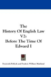 Cover of: The History Of English Law V2: Before The Time Of Edward I