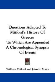 Cover of: Questions Adapted To Mitford's History Of Greece