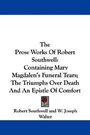 Cover of: The Prose Works Of Robert Southwell