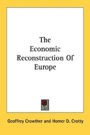 Cover of: The economic reconstruction of Europe