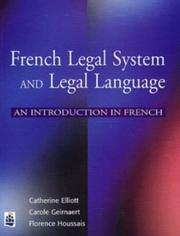 Cover of: French Legal System and Legal Language