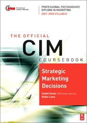 Cover of: CIM Coursebook Strategic Marketing Decisions, Fourth Edition