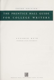 Cover of: The Prentice Hall guide for college writers
