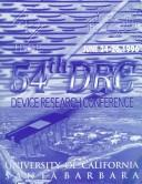 Cover of: 1996 54th Annual Device Research Conference Digest