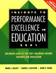 Cover of: Insights to Performance Excellence in Education 2000