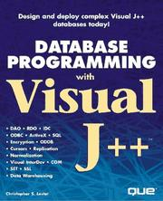 Cover of: Database Programming With Visual J++