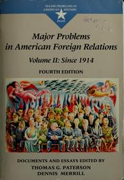 Cover of: Major problems in American foreign relations