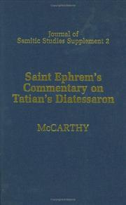 "Cover of: Saint Ephrem'sCommentary on Tatian's "" Diatessaron"": an English translation of Chester Beatty Syriac MS 709"