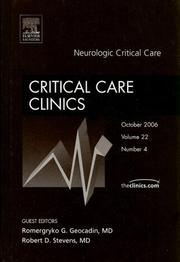 Cover of: Neurologic Critical Care, An Issue of Critical Care Clinics (The Clinics: Surgery)
