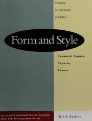 Cover of: Form and style