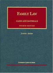 Cover of: Family law: cases and materials