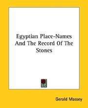 Cover of: Egyptian Place-names and the Record of the Stones