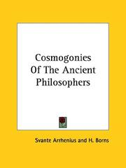 Cover of: Cosmogonies of the Ancient Philosophers