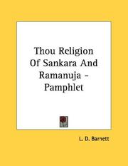Cover of: Thou Religion Of Sankara And Ramanuja - Pamphlet