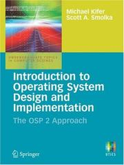 Cover of: Introduction to Operating System Design and Implementation