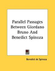 Cover of: Parallel Passages Between Giordano Bruno And Benedict Spinoza