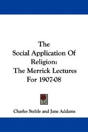 Cover of: The Social Application Of Religion