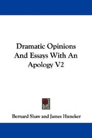 Cover of: Dramatic Opinions And Essays With An Apology V2